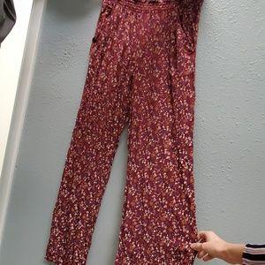 Flower print, flowy fit, wide leg palazzo pants